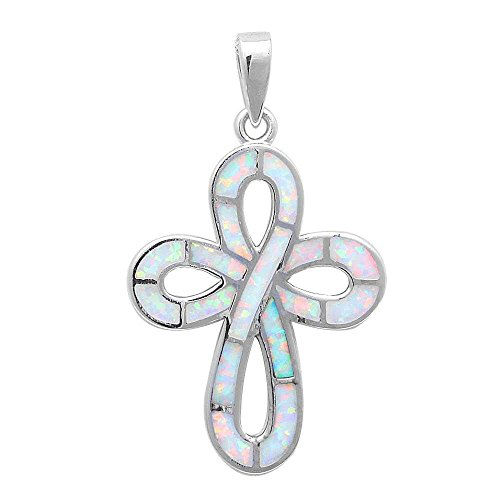 (New Lab Created White Opal Cross .925 Sterling Silver Pendant )