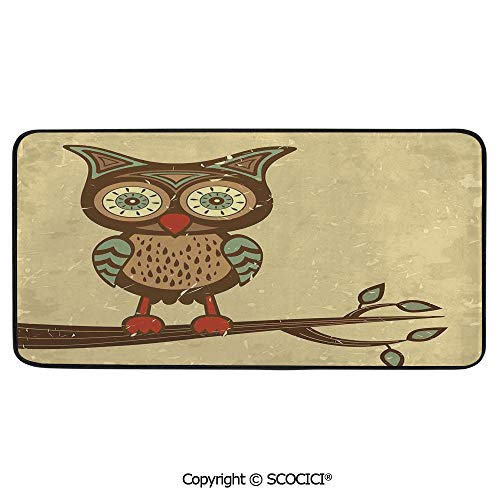 Rectangle Rugs for Bedside Fall Safety, Picnic, Art Project, Play Time, Crafts, Large Protective Mat, Thick Carpet,Owls Home Decor,Cute Owl Sitting on Branch Eyesight Animal Humor,39