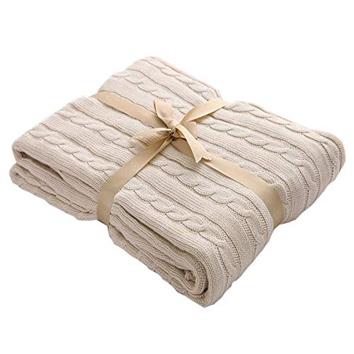 Beige Thermal Cables - Prosshop Crocheted Blanket Handmade Super Soft Warm Twist Cotton Cable Knitting Throw Sleeping Cover Blanket Rug for Kids or Adults Bedroom Sofa/Bed/Couch/Car/ Quilt Living Room/ Office (Beige)