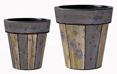 Studio M Barnwood Blues Art Planters Faux Woodgrain Decorative Pots, Fade-Resistant Container for Outdoors or Indoors - Set of 2, Printed in The USA, 12 and 15 Inch Diameter