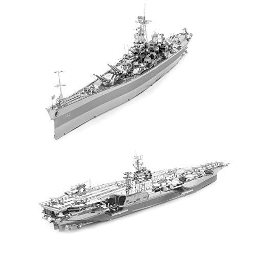 Fascinations ICONX 3D Metal Model Kits Set of 2 - USS Theodore Roosevelt CVN-71 - USS Missouri BB-63
