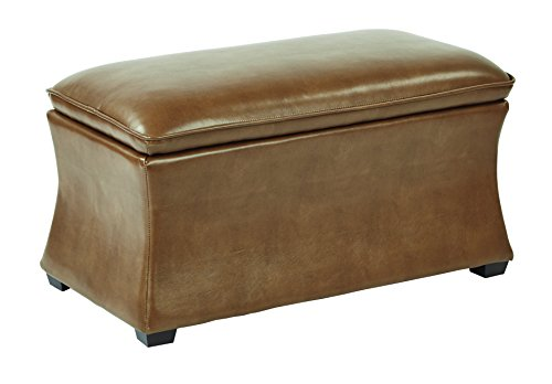 Ave Six Hourglass Storage Ottoman, Deluxe Bonded Molasses