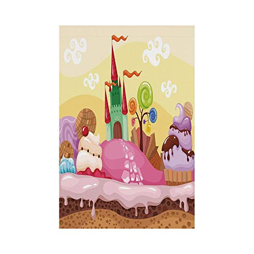 Polyester Garden Flag Outdoor Flag House Flag Banner,Cartoon Decor,Kids Sweet Castle Landscape with Donuts Muffins Ice Cream Nursery Image,Sand Brown Pink,for Wedding Anniversary Home Outdoor Garden D