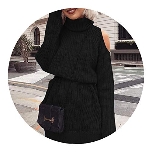 Sweater Dress Women Long Sleeve Knitted Short Dress 2018 Autumn Winter Vintage Loose ies Dresses,Black,L