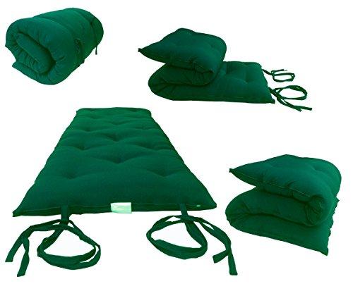 (Hunter Green Queen Size Traditional Japanese Floor Futon Mattresses, Foldable Cushion Mats, Yoga, Meditaion 60