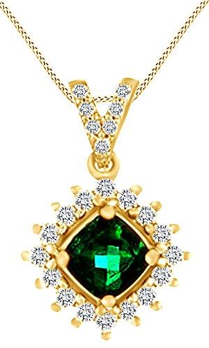 14K Yellow Gold Simulated Green Emerald & White Sapphire Pendant (Yellow Gold Emerald Pendant)