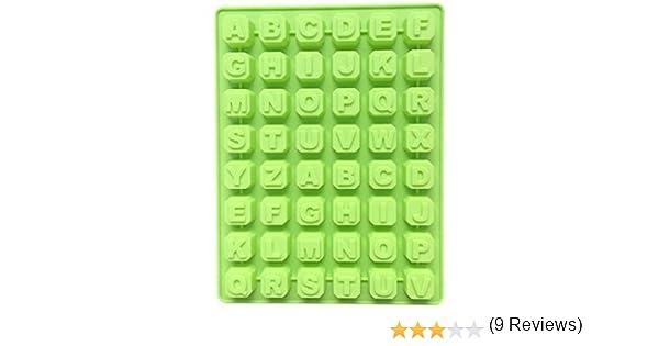 Molde de 48 letras alfabeto repostería hielo gelatina de molde molde de chocolate Mousse molde de caramelo silicona forma específica: Amazon.es: Hogar