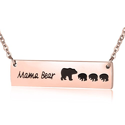 ENSIANTH Honey Family Mama Bear Bar Necklace Gifts for Friend (Rose Gold 3cub Bear)