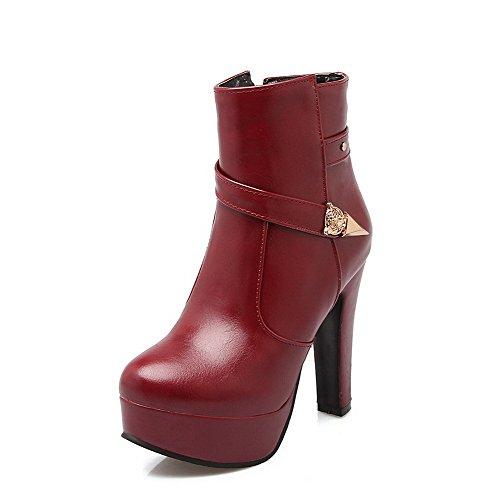 Allhqfashion Claret Heels Low Round Zipper High Closed Women's PU Top Toe Boots rfrwqaB