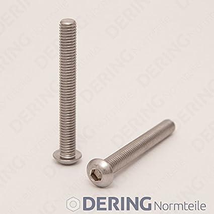 50 St/ück rostfrei DERING Linsenkopfschrauben M4 X 8//8 mit Innensechskant ISO 7380 Edelstahl A2 | Flachkopfschrauben