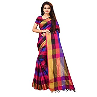 Leriya Fashion Banarasi Cotton with Blouse Piece Saree (Leriya-LF-S1279_Black_One Size) 41cildUAFkL