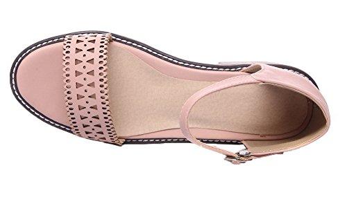 Pink Sandals Buckle Solid Open Low Heels Toe Women's Pu WeiPoot zqZ414