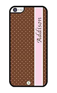 MMZ DIY PHONE CASEiZERCASE Personalized Brown Dots with Pink Stripe RUBBER ipod touch 5 case - Fits ipod touch 5 T-Mobile, AT&T, Sprint, Verizon and International