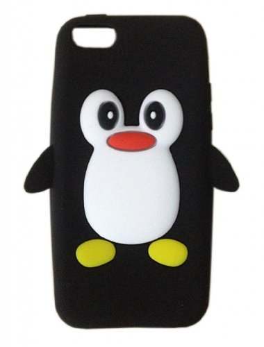 New Lovely 3D Cartoon Penguin Pattern Soft Silicone Case Cover for Apple iPhone 5C (Black)