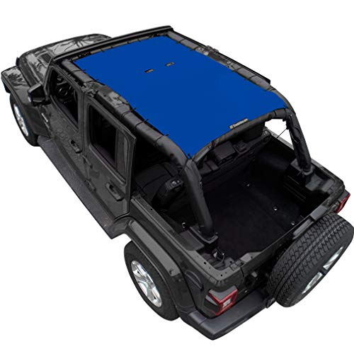 Shadeidea Jeep Wrangler Sun Shade JL Unlimited 4 Door Front and Rear-Blue Mesh Screen Sunshade JLU Top Cover UV Blocker with Grab Bag-One time Install 10 years Warranty