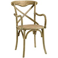 Modern Urban Contemporary Dining Armchair, Brown Wood