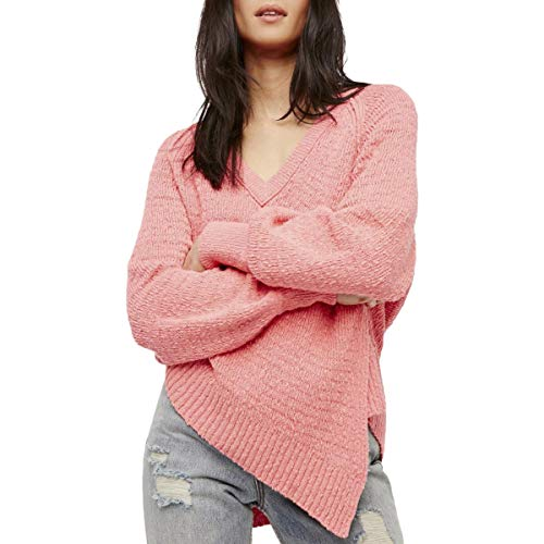 (Free People Womens West Coast Asymmetrical V-Neck Pullover Sweater Pink S)