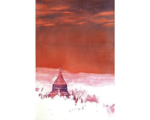(Fine art watercolor painting of ruined pagodas of Bagan (Pagan) in Myanmar (Burma)- print)