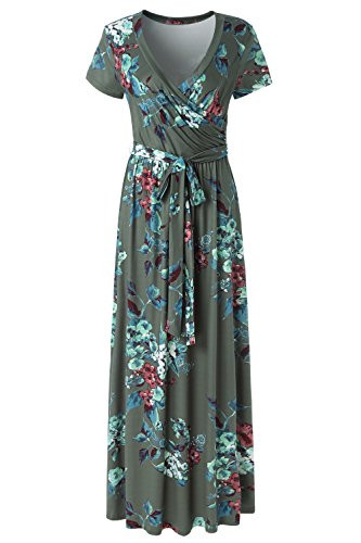 - Kranda Womens Summer Vintage Floral Print Short Sleeve Maxi Long Dress