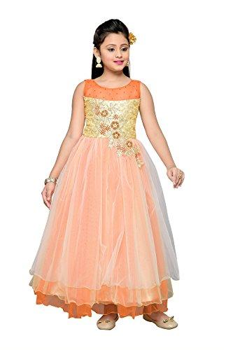 Aarika Girl's Self Design Net and Satin Party Wear Ball Gown (G-6237-ORANGE_28_7-8 Years) by Aarika