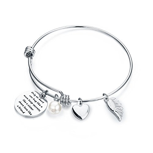 WUSUANED Aunt Quote Bangle Bracelet Gift for Sister New Aunt Gift Wire Charm Bangle (Aunt 01) (Charm Aunt 1)