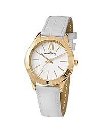 Jacques Lemans Women's Rome 37mm White Leather Band Quartz Watch 1-1840ZK