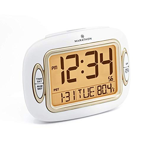 (Marathon CL030051WH Atomic Alarm Clock with Auto Back Light Feature, Temperature and Date. Easy Set Buttons on Case Front. Color-White.)