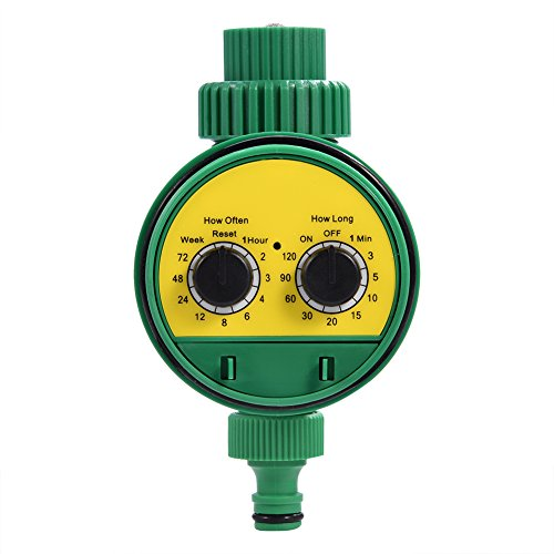 Dioche Garden Irrigation Timer, Single Outlet Automatic Water Faucet Hose Timer Ball Valve Allow Connected Irrigation System