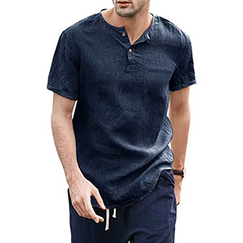 YOcheerful Summer Men's Tops Cool Thin Breathable Solid Button Up Shirts Short Sleeve Henley Tops(Navy, L)