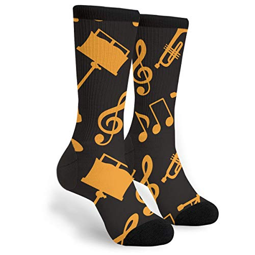 Packsjap Musical Seamless Pattern with Music Notes Treble Clef Trumpet Men & Women Casual Cool Cute Crazy Funny Athletic Sport Colorful Fancy Novelty Graphic Crew Tube Socks