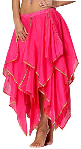 Seawhisper Hot Pink Women Belly Dance Chiffon Skirt Bollywood Costume for Girls 2 4 6 8 10 12 ()