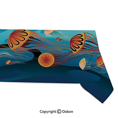 Space Decorations Tablecloth, Jellyfish in The Sea and Coconut Island Trees Waves Under Starry Night Sky, Rectangular Table Cover for Dining Room Kitchen, W60xL120 inch]()