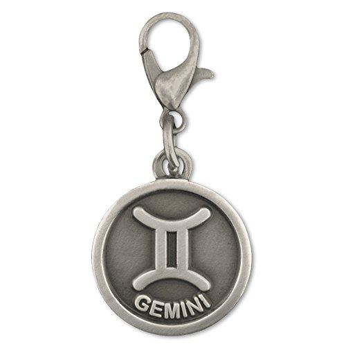 (PinMart's Antique Silver Gemini Zodiac Twins Symbol Charm )
