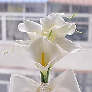 Moleya 6 Inch Vintage PE Artificial Calla Lily Handmade Wedding Flower Bouquets Bridal Bridesmaid Holding Throw Bouquets with Rhinestones and Ribbon, White 3