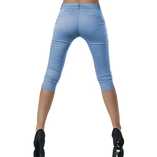 3 Capri Nuova Button Donna Blu 2018 4 Casual Pantalone Donna Moda Yoga Leggings Estate Pantaloncini qBxAPzw