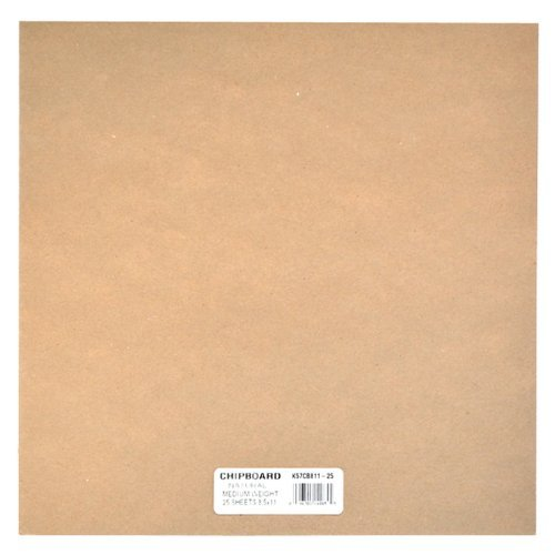 Grafix Medium Weight Chipboard Sheets, 12-Inch by 12-Inch, Natural, 55-Pack (Natural, 55-Pack)
