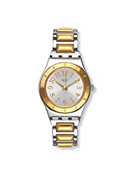 SWATCH WOMEN'S 33MM TWO TONE STEEL BRACELET SWISS QUARTZ ANALOG WATCH YLS192G