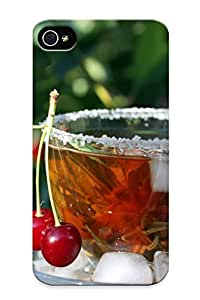 Durable Protector Case Cover With Cup Cherry Ice Tea Macro Hot Design For Iphone 4/4s (ideal Gift For Lovers)