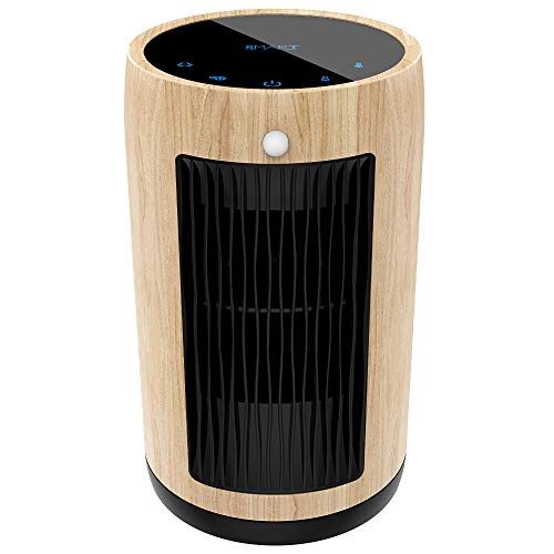 Electric Space Heater 1500W Portable Smart Control,Touch Panel, PIR Motion Sensor, Function 3 Modes with Overheat Tip-over Shut Off,Light Color Wood Grain Housing
