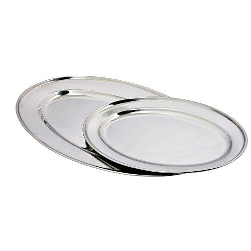 Oval Stainless Steel Platter (Kosma Set of 2 Stainless Steel Oval Platter | Serving Tray | Rice Plate | Oval Platters - 40cm)