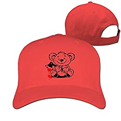 Bear Bloody Unisex Casual Basketball Hat & Cap Red