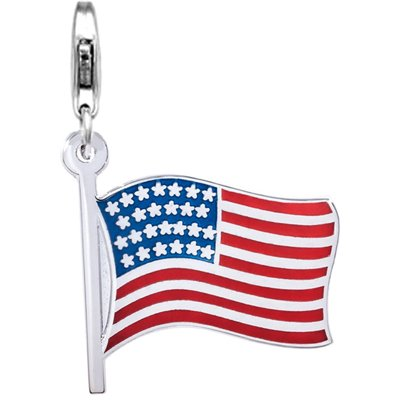 July 4th Charm, Jovana Sterling Silver Links Charm American Flag Enamel with Lobster Clasp