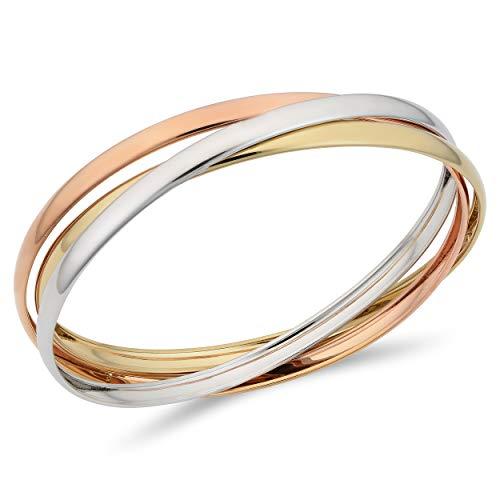 14k Tricolor Gold Interlocking Women's Bangle Bracelet, 7.5