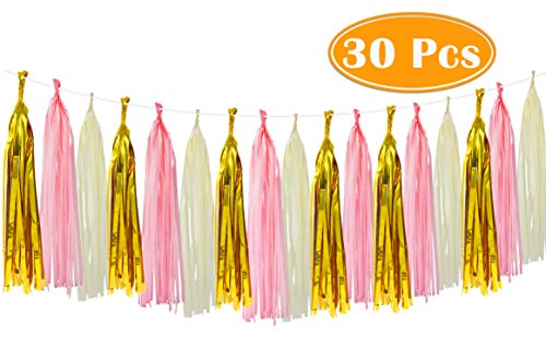 Paxcoo 30 Pcs Tissue Paper Tassel Garland DIY Party Garland for Birthday Baby Shower Wedding Party Decorations -