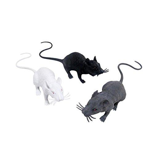TOYMYTOY 3pcs Realistic Mice Toy Spooky Rat Toy Halloween Prank Toy for Halloween Decoration (Black White Grey) ()
