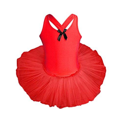 Price comparison product image TIFENNY Baby Girls Dancewear Dress Kids Sleeveless Gauze Leotards Ballet Bodysuit Siamese Performance Outfits (24M,  Red)