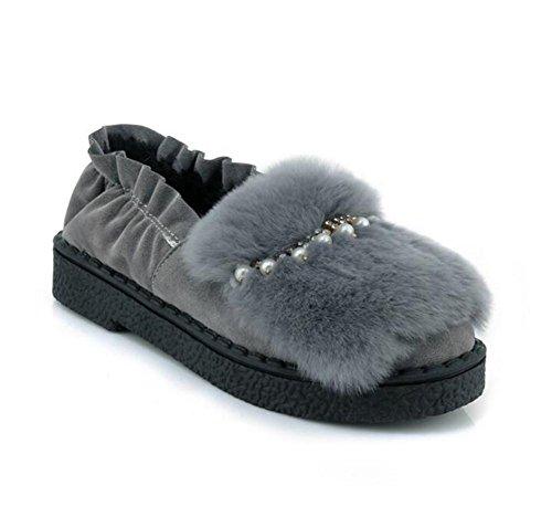 35To43 Taille Perlé fausse femmes fourrure élastique Suède Chaussures Doublure Ballerine pour Flâneurs Collier xie en plate xaq6ZCwA
