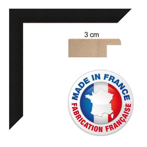 Cadre photo sur mesure 20x26 cm ou 26 x 20 cm cadre Noir, 3 cm de largeur, Cadre en bois