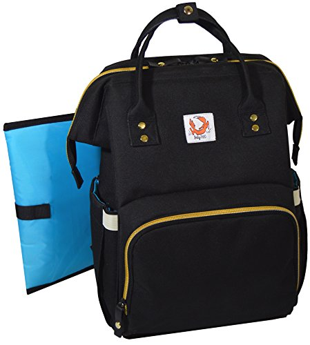 Large Baby Diaper Bag Backpack: Black Insulated Stylish Desi