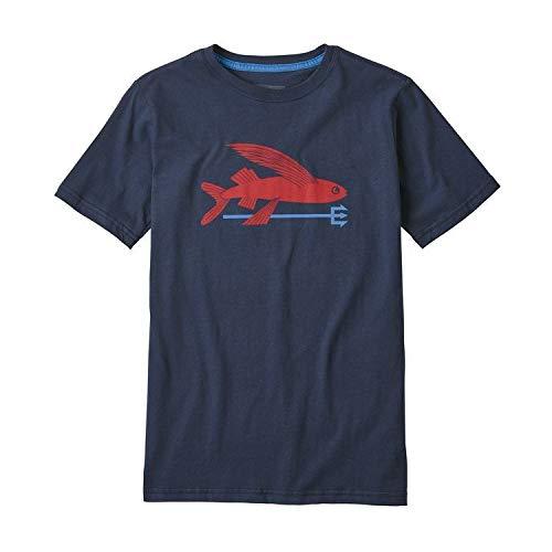 Patagonia Cotton Shirt - Patagonia Boys' Flying Fish Organic Cotton T-Shirt - Neo Navy XXL